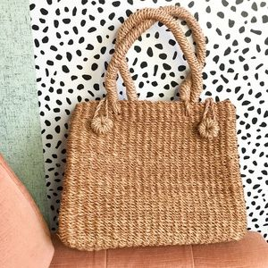 Handbags - Tan Boxy Straw Bag with Loop Button Closure